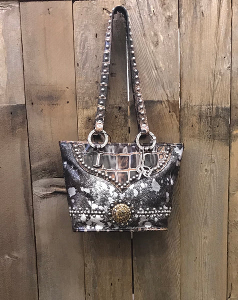 Brown And Silver Acid Wash Handbag
