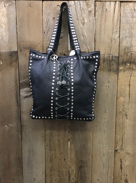 Black Leather Lace Up With Swarovski Crystals Handbag