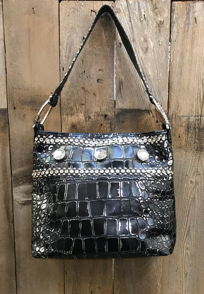 Black And Silver Croc With Swarovski Crystals Handbag