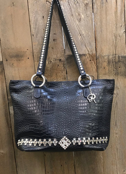 Black Croc With Swarovski Crystals Handbag