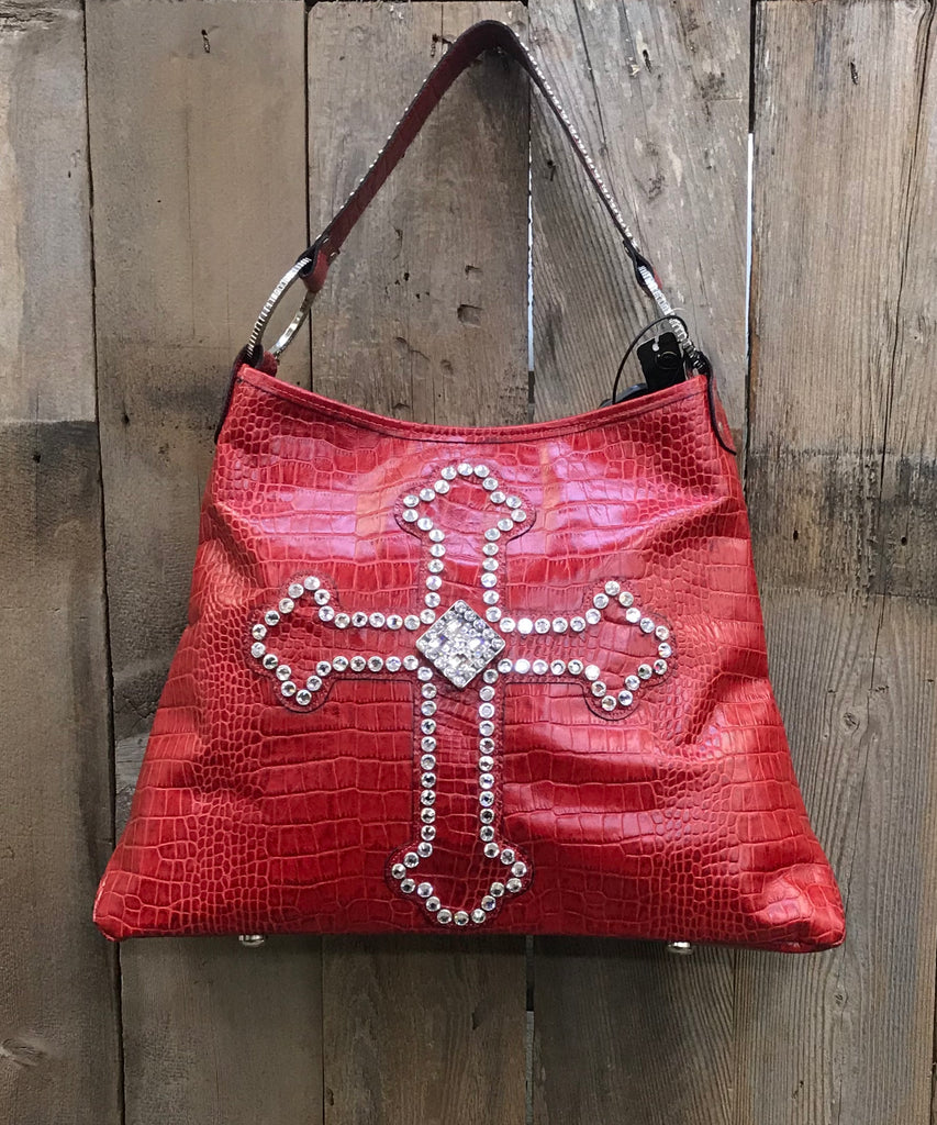 Red Leather With Swarovski Crystal Cross