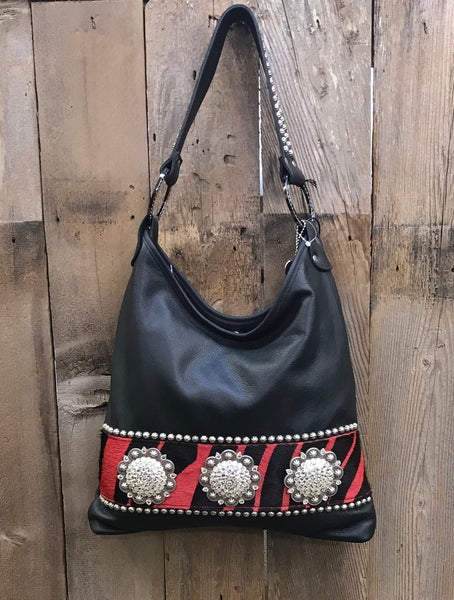 Black Leather With Red And Black Zebra Hair Handbag