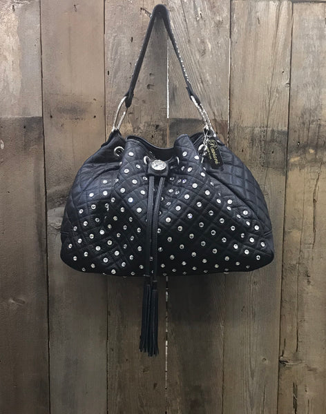 Black Quilted Leather Drawstring With Crystals