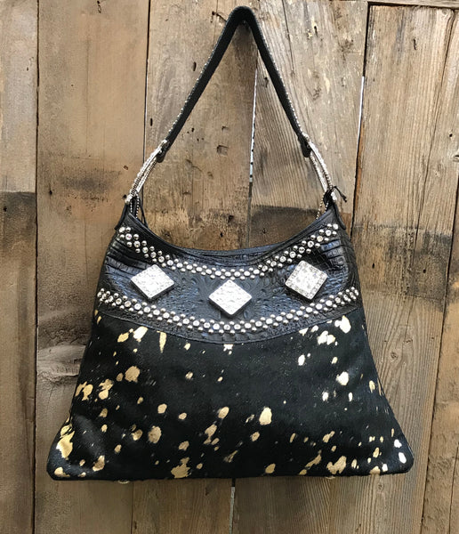 Black and Gold Acid Wash With Swarovski Crystals Handbag