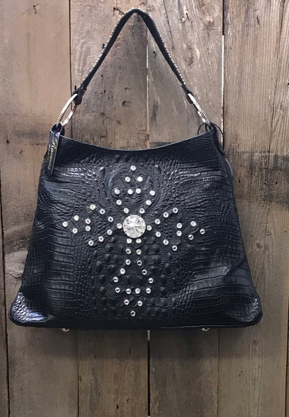 Black Leather Croc Tote With Crystal Dotted Cross