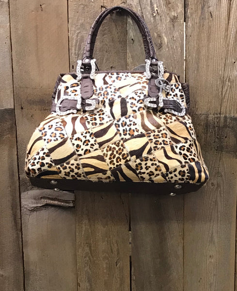Animal Print Patchwork with Swarovski Crystals Handbag