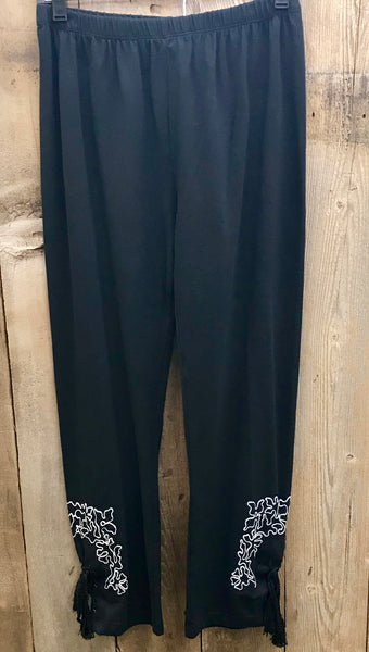 Black & White Embroidered Pants