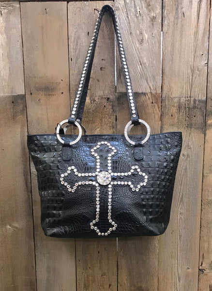 Black Leather With Swarovksi Crystal Cross Handbag