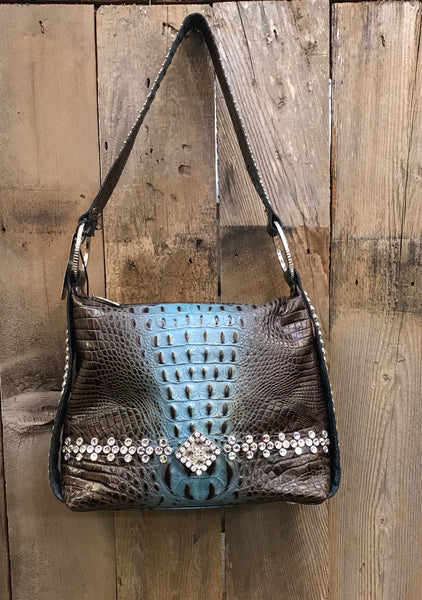 Brown And Turquoise Croc With Swarovski Crystals Handbag
