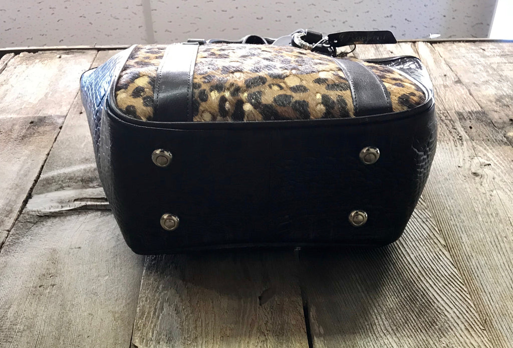 Brown Leather With Cheetah Handbag