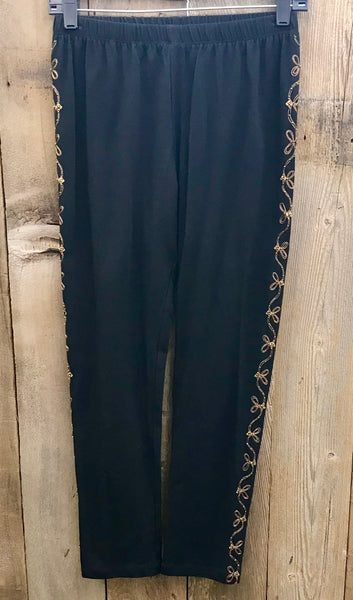 Black & Gold Embroidery Pants