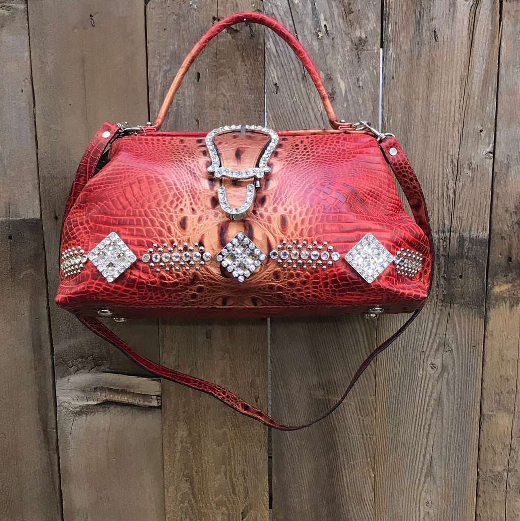 Red Croc With Buckle And Conchos