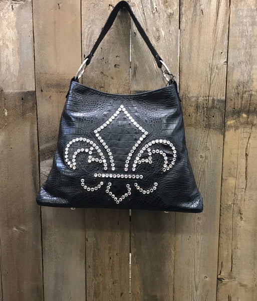 Black Leather With Swarovski Crystal Fleur de Lis Handbag