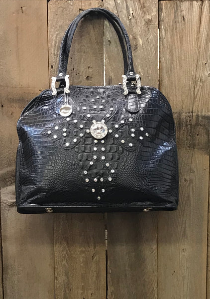 Black Leather Croc With Swarovski Crystal Dotted Cross Handbag