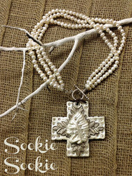 """Wintercamp"" Pearl & Taupe Clay Cross Indian Pearl Necklace"