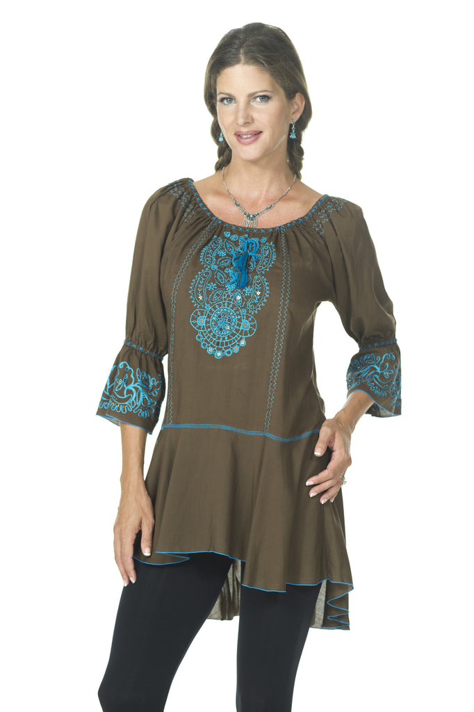 Tranquil Brown/Turquoise Top