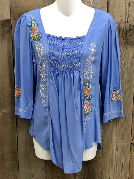 Lt. Blue Smock Top w/Embroidered Flowers