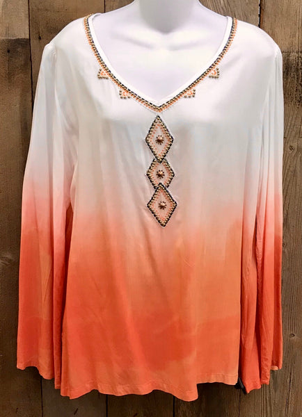 Coral & White Top
