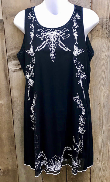 Black & White Embroidery Dress