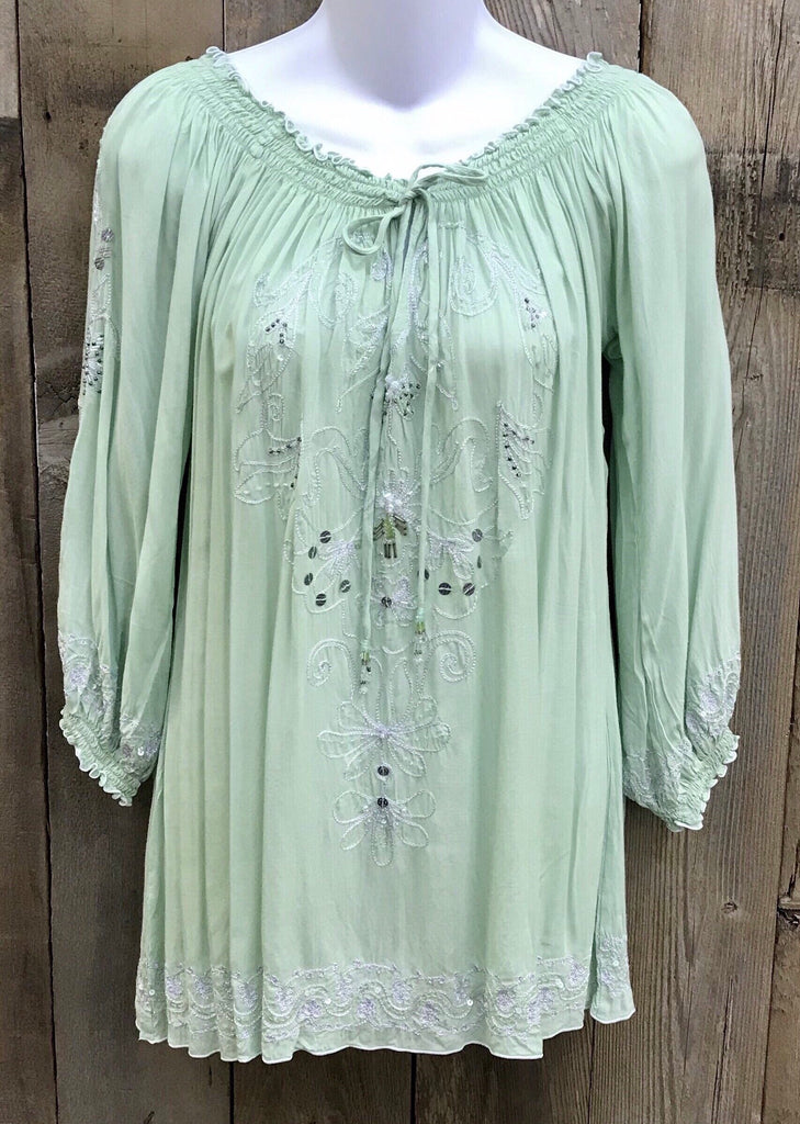 Mint Long Sleeves with White Embroidery/Silver Sequins