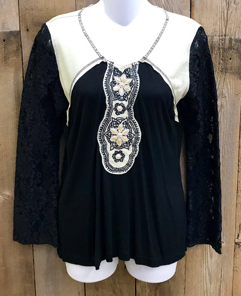 Black & White Embroidered Top