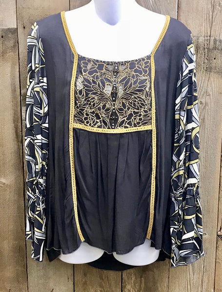 Charcoal & Gold Embroidered Top