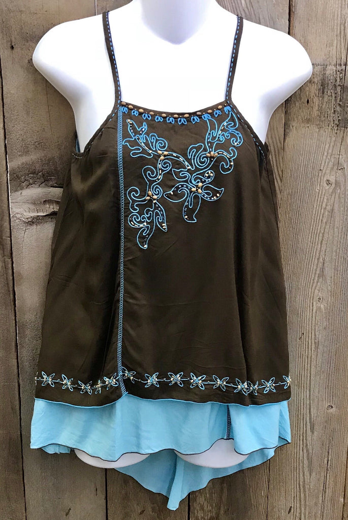 Brown & Turquoise Spaghetti Top