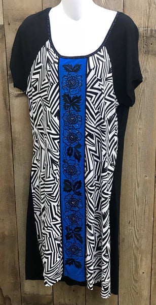 Black & White Dress with Blue Stripe