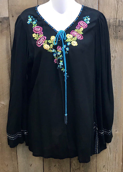 Black & Bright Floral Embroidery Top