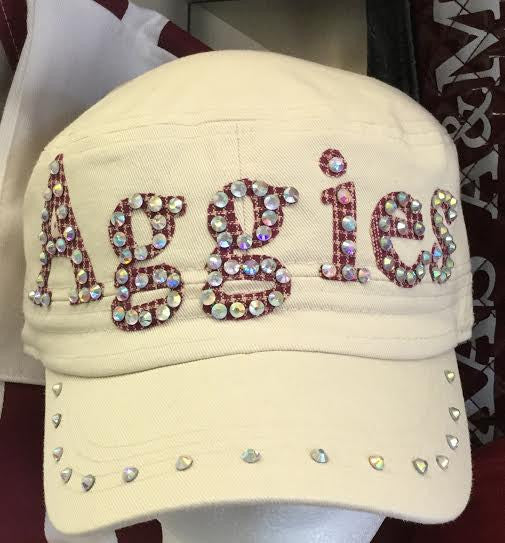 """Aggies"" Ivory Cap W/ Crystals"