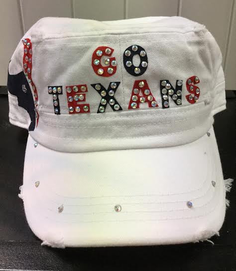 """Go Texans"" White Cap W/ Crystals"