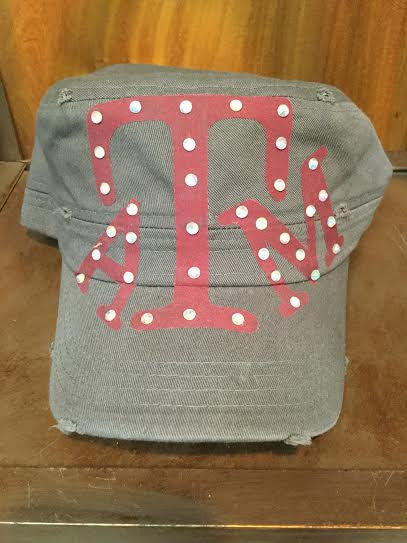 Texas A&M Grey Cap W/ Crystals