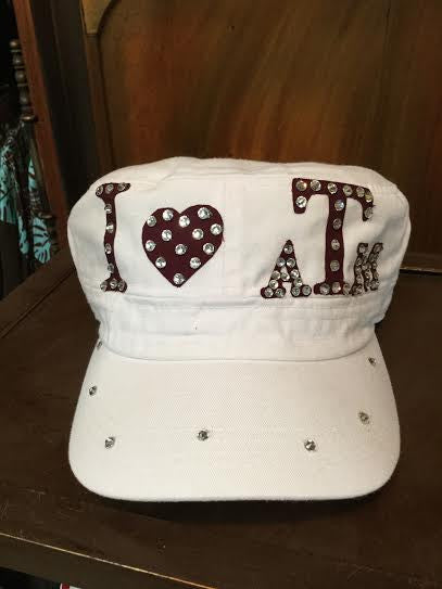 """I (Heart) A&M"" White Cap W/ Crystals"