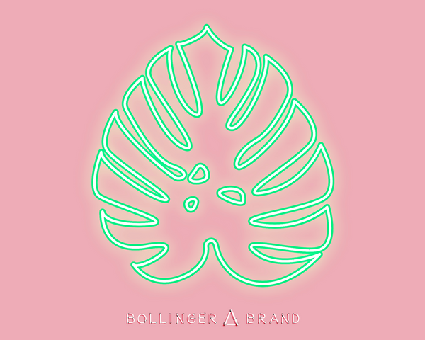 Neon Tropical Leaf Art Print