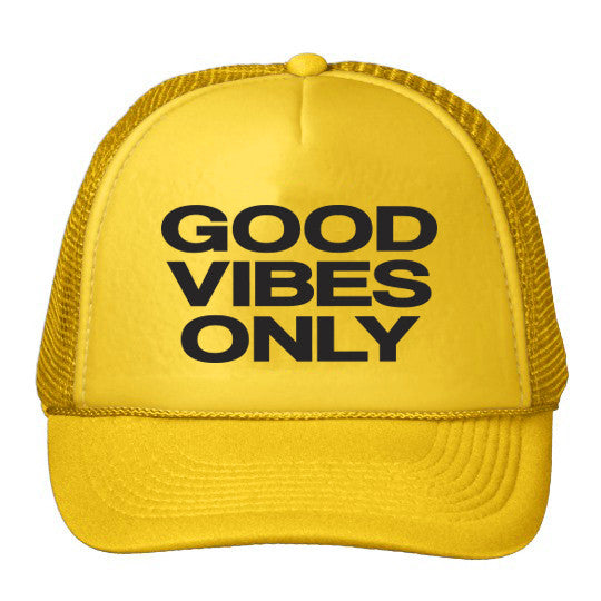 Good Vibes Only Trucker Hat - Yellow – Bollinger Brand 6f9a00359a9