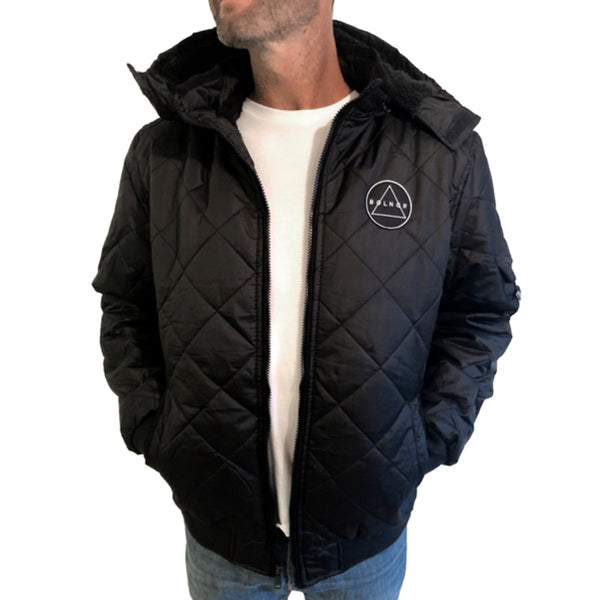 Patch Black Hooded Jacket