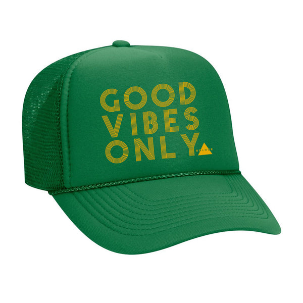 New Good Vibes Only Trucker Hat - Green