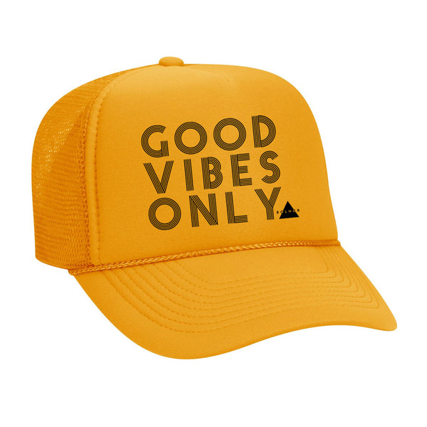 New Good Vibes Only Trucker Hat - Yellow