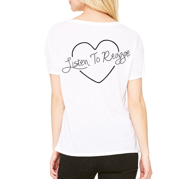 Listen to Reggae V-Neck Tee White