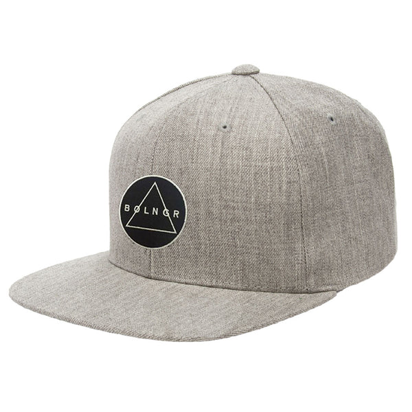 Embroidered BOLNGR Patch 6 Panel Snapback Hat - Heather Grey