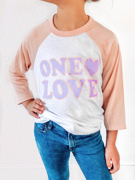 Girls One Love Baseball Tee