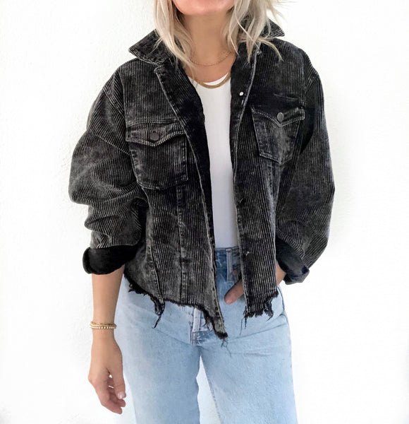 Corduroy Crop Jacket - Black Acid Wash