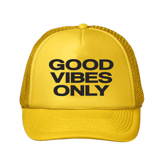 Youth Good Vibes Only Trucker Hat - Yellow