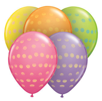 "Balloons - Round <BR>11"" Polka Dot Spray Asst"