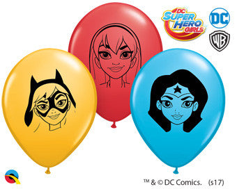 "Balloons - Round<br>5"" Girl Super Heros"
