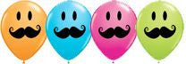 "Balloons - Round<br>5"" Smiley Faces with Mustache"