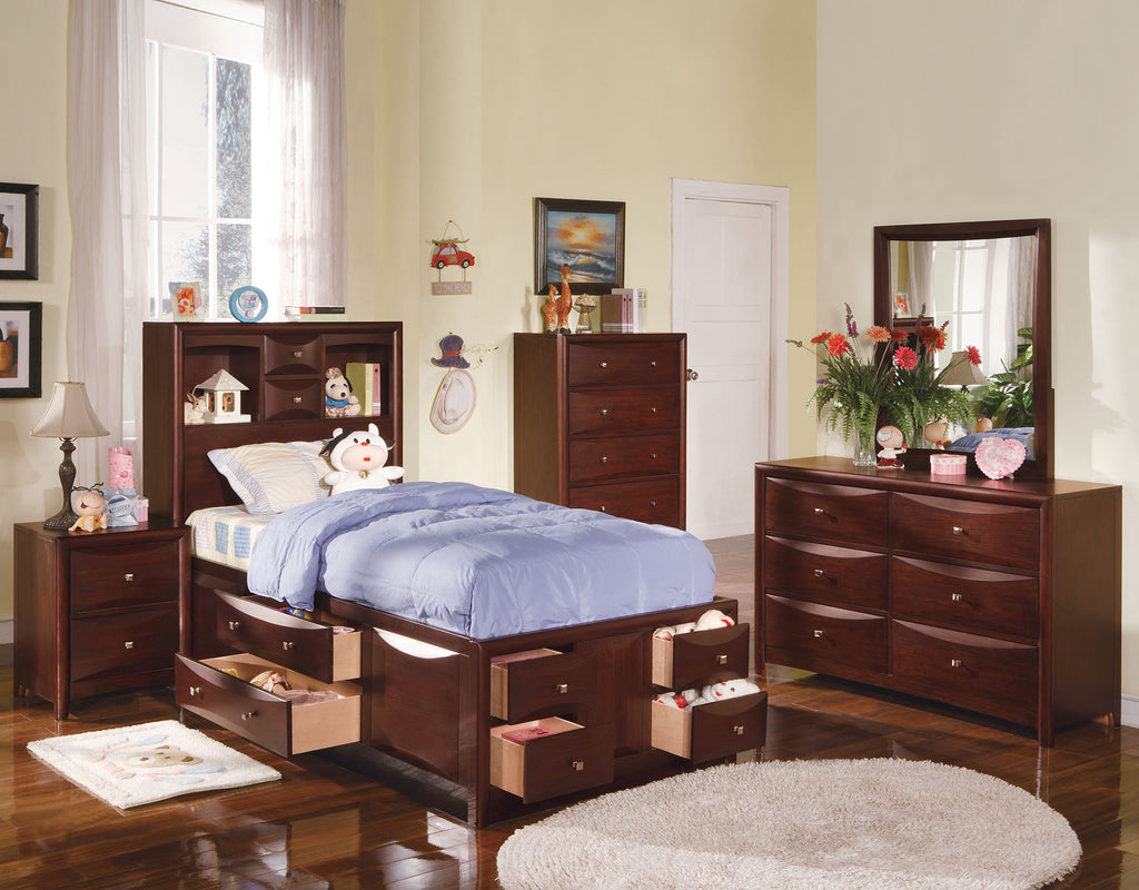 AC04090T MANHATTAN ESPRESSO BOOKCESE TWIN STORAGE BED WITH DRAWERS