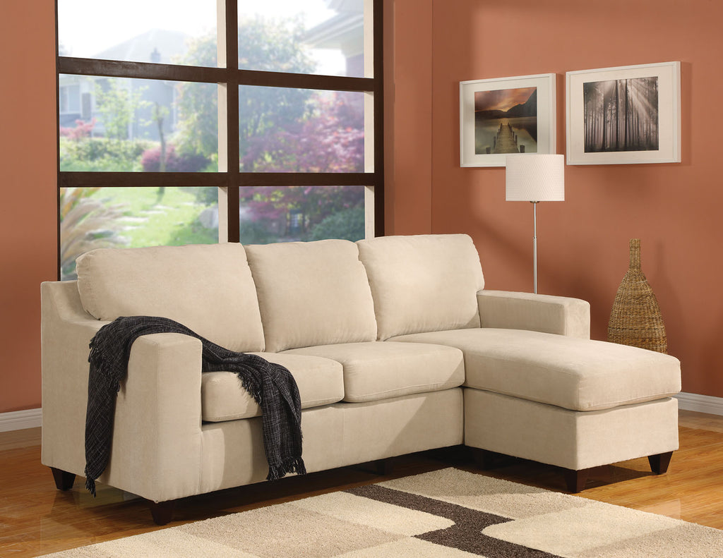 AC05913 VOGUE BEIGE MIROFIBER REVERSIBLE CHAISE SECTIONAL SOFA