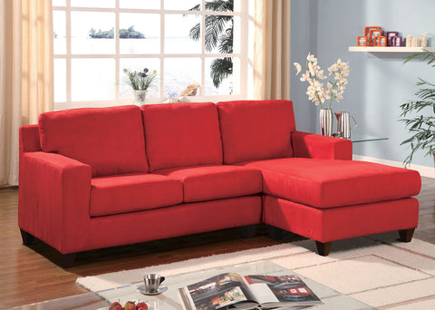 AC05917 VOGUE RED MICROFIBER REVERSIBLE CHAISE SECTIONAL SOFA