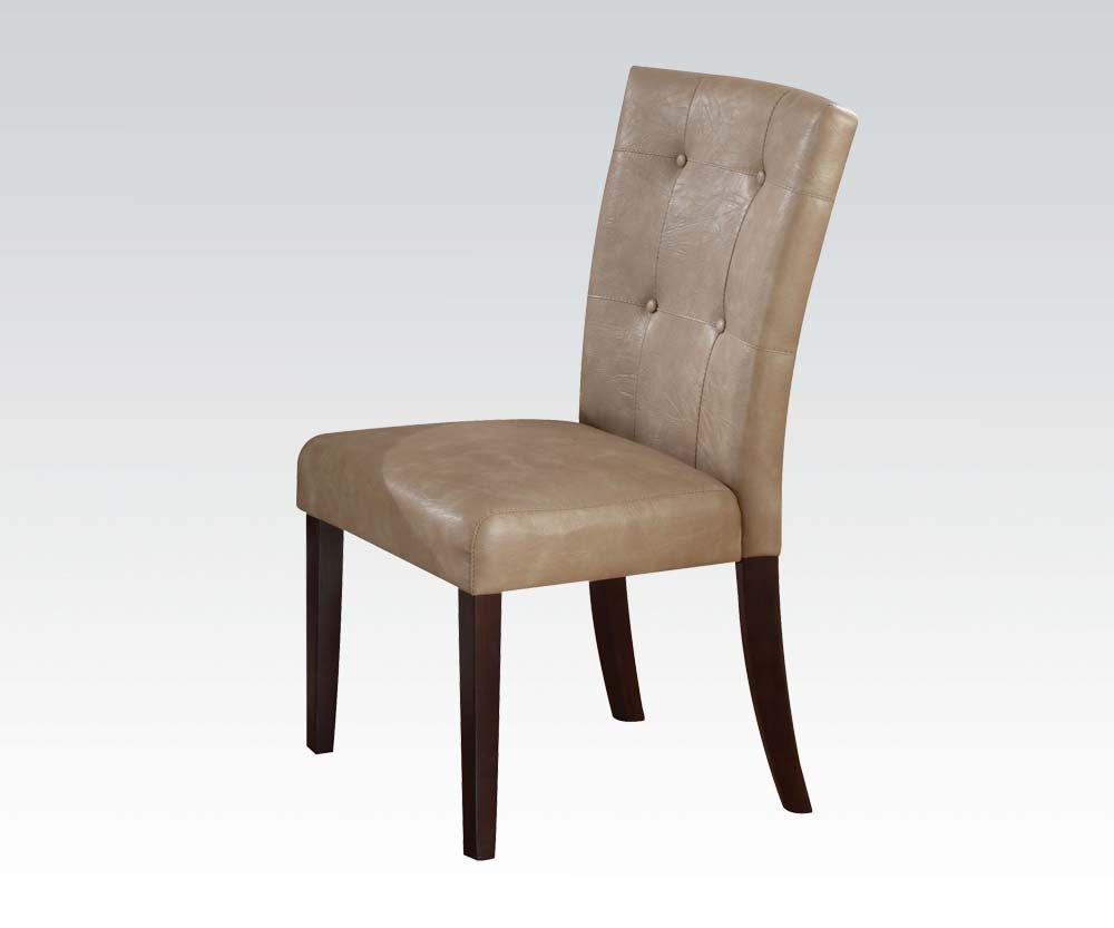 AC10284 BRITNEY CREAM PU WALNUT LEGS DINING CHAIR SET OF 2